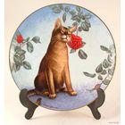 "Коллекционная фарфоровая тарелка из Англии, - 1989 года выпуска: Mint Irene Spencer Cats & Flowers ""The Cheek of Araby"" Plate & Frame/No25."