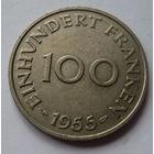 Саар. 100 франков 1955г.