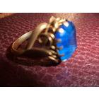 Редкое старинное кольцо с синим камнем.
