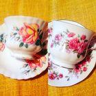 Чашка чайная Англия Костяной фарфор 2 комплекта Розы разные