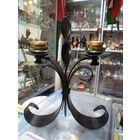 Подсвечник металлический на 2 свечи, 22 см.