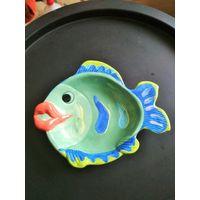 Тарелка, Рыба, декор, Европа, фарфор / терракота, цветовая гамма, ручная разрисовка, блюдо, целая