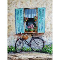 Картина маслом с велосипедом