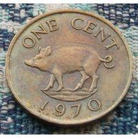Бермудские острова 1 цент 1970 года. R. Парасёнок - символ банковской системы Бермуд. Королева Елизавеа II. Инвестирую в монеты планеты!