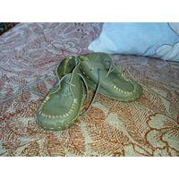 Кожаные пинетки-ботинки