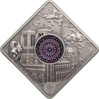 """Палау 10 долларов 2017г. Витраж: """"Собор Нотр-Дам"""". Монета в капсуле; подарочном футляре; номерной сертификат; коробка. СЕРЕБРО 50гр."""