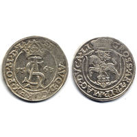 Трояк 1563, Жигимонт Август, Вильно. Ав: корона разделяет легенду, окончание - 'L'.  Рв: топор после DG, окончание - 'LI', R