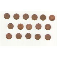 Великобритания Подборка однопенсовых монет (16 штук)