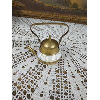 Коллекционный Чайник миниатюра с перламутром латунь
