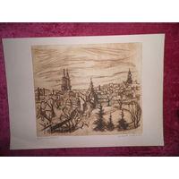 Офорт гравюра 41,5х26,5 Авт.подпись.G.Nitzsche Германия.Из личного архива(коллекции) подполковника М.В.Настеко.(см.фото)