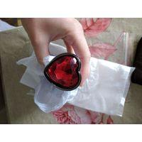 Анальная пробка. большая 95*41 мм, черный металл, красный камень сердце, новая