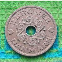 Дания 2 кроны 1992 года. Маргрет II. Сердечки!