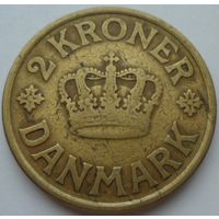 Дания 2 кроны 1925 года. Буквы HCN GJ