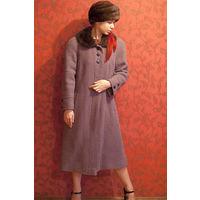 Зимнее пальто с воротником из меха норки, р-р48-50