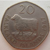 Фолклендские острова 20 пенсов 1987 г.