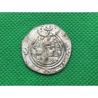 Исламская монета, империя Сасанидов,, драхма серебро Хосров II Парвиз (590-628), год драхмы 615-616