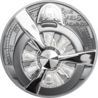 """Острова Кука 10 долларов 2020г. """"Пропеллер самолета - Голубое небо Black Proof"""". Монета в капсуле; подарочной рамке; сертификат; коробка. СЕРЕБРО 62,20гр.(2 oz)."""