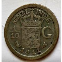 Голландская Ост-Индия 1/10 гульдена, 1911 1-7-19
