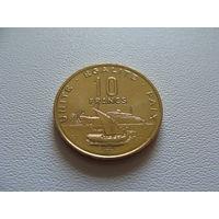 """Джибути. 10 франков. 2013 год КМ#23  """"Корабль""""Порт"""""""