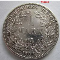 Германия. 1 марка 1903 G. Карлсруэ! Серебро . 114