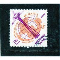 Гаити.Ми-734.Смотровая башня и карта мира. Серия: Мировая выставка Сиэтл. 1962.