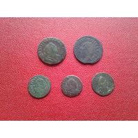 1 грош 1755 года - 2 шт., солид 1754 года - 3 шт.