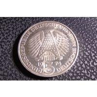 5 марок 1974 F. Германия. 25 лет со дня принятия конституции ФРГ Серебро 0.625.
