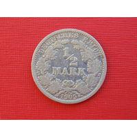 Германия 1/2 марки 1905г. F серебро