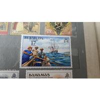 Парусники корабли транспорт флот моренистика марка Бермуды ( Бермудские острова)