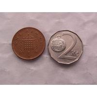 Чехия 2 кроны 1993г и Англия  1 пенни 1994г распродажа