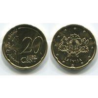 Латвия. 20 евроцентов (2014, UNC)
