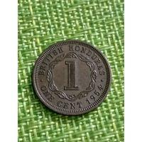 Британский Гондурас 1 цент 1954 г  ( тир 200 тыс., сохран )