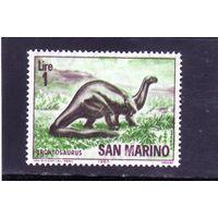 Сан-Марино.Ми-833 .Динозавры.Бронтозавр.1965.