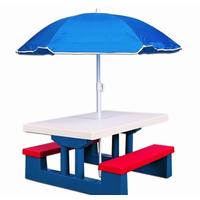 Столик, скамейки под зонтиком для детей