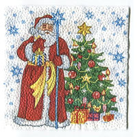 Салфетка для декупажа. Новогодняя, дед мороз, елка. 25 х 25 см