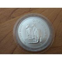 1 доллар 1999 года Австралии Пара кенгуру Серебро 0.999 вес 31.6 г (1 унция чистейшего серебра в капсуле)