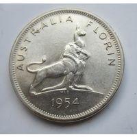 Австралия  флорин, 2 шиллинга 1954 Королевский визит в Австралию . Серебро  .3Б-102