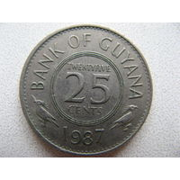 Гайана 25 центов 1987 г.