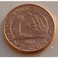 "Либерия. 1 цент 1961 год KM#13 ""Слон"""