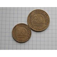 Лот #75: Франция: 10 сентимов 1967, 20 сентимов 1967