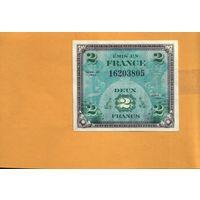 Франция  2 франка 1944г. военный  выпуск