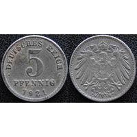 YS: Германия, 5 пфеннигов 1921G, KM# 19