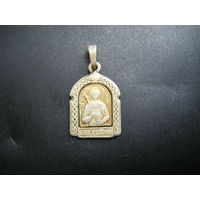 Медальон Св. Вел. Муч. Георгия Победоносца. Белый метал. Остатки позолоты.