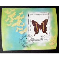 Мадагаскар 1984 г. Бабочки. Насекомые. Фауна, Блок #0272-Ф1P60