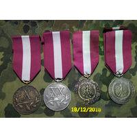 """Две медали """"За Х и ХХ лет выслуги"""" #2.  Бронза + серебро. Польша начало прошлого века . С  лентами."""