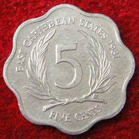 5524: 5 центов 1981 Восточные Карибы