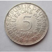 ФРГ. 5 марок 1961 D, Серебро