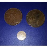 2 английских монеты 1912 г и 1946 г