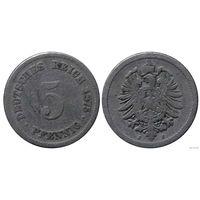 YS: Германия, Рейх, 5 пфеннигов 1875J, KM# 3