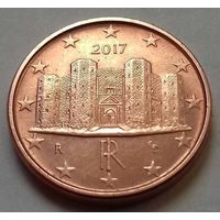 1 евроцент, Италия 2017 г., AU